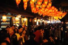 Templo chino del Año Nuevo 2012 justo en Chengdu Foto de archivo libre de regalías