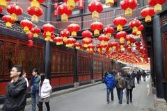 Templo chino del Año Nuevo 2013 justo en Chengdu Foto de archivo