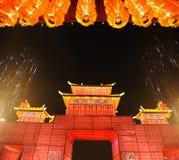 Templo chino del Año Nuevo justo en chengdu Fotos de archivo
