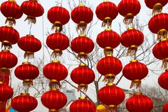 Templo chino del Año Nuevo justo en Panjin Fotos de archivo