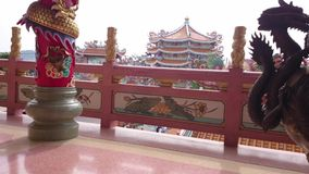 Templo chino en el lanzamiento de pattaya en 4k