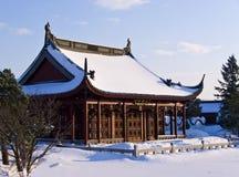 Templo chino en la nieve fotografía de archivo libre de regalías