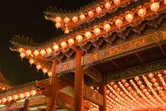 Templo chino en la noche Imagen de archivo libre de regalías