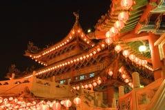 Templo chino en la noche Fotografía de archivo