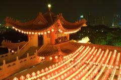 Templo chino en la noche Imagenes de archivo