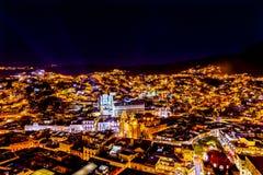 Templo Companiia de la universidad nuestra señora Night Guanajuato Mexico Imágenes de archivo libres de regalías