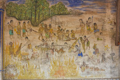 Templo con la pintura antigua sobre la ley de karmas desde el año 1928 Fotos de archivo