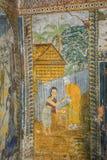 Templo con la pintura antigua sobre la ley de karmas desde el año 1928 Fotografía de archivo libre de regalías