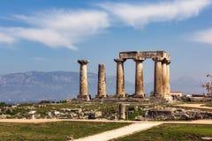 Templo Corinto de Apolo Foto de archivo