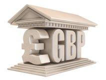 Templo 3D de la muestra de moneda de GBP de la libra esterlina stock de ilustración