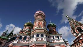 Templo da catedral da manjericão de Saint da manjericão o quadrado abençoado, vermelho, Moscou, Rússia filme