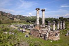 Templo de Ártemis, Sardis Sardes Lydia Ancient City em Salihli imagem de stock