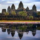 Templo de Angkor Wat em Cambodia fotos de stock