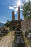 Templo de Apollo em Delphi Greece fotografia de stock