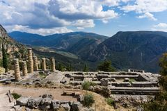 Templo de Apollo em Delphi Greece foto de stock