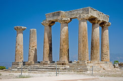 Templo de Apolo en Corinth Foto de archivo libre de regalías