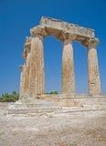 Templo de Apolo en Corinth Imagen de archivo