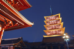 Templo de Asakusa em a noite Foto de Stock Royalty Free