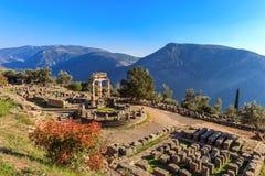 Templo de Athina Pronaia das ruínas em Delphi antigo Foto de Stock