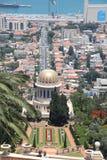 Templo de Bahai en la demostración de Haifa en hasta Carmel Fotos de archivo libres de regalías