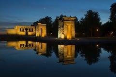 Templo de Debod au coucher du soleil, Madrid Images stock