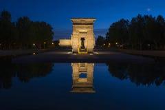 Templo de Debod au coucher du soleil, Madrid Photos stock
