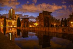 Templo de Debod Madrid spain. The Temple of Debod is an ancient Egyptian temple that was dismantled and rebuilt in Madrid, Spain stock photography