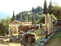 Templo de Delphi en Grecia Imagen de archivo