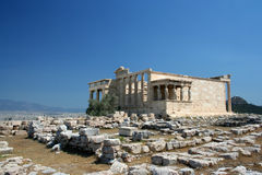 Templo de Erechtheion, acrópolis Imagenes de archivo