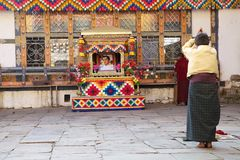 Templo de Jampey Lhakhang, Chhoekhor, Butão Imagens de Stock