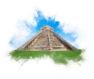 Templo de Kukulkan, pirâmide em Chichen Itza, Iucatão, México imagem de stock
