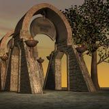 Templo de la fantasía en el amanecer libre illustration