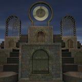 Templo de la fantasía en el amanecer stock de ilustración