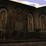Templo de la fantasía en el amanecer ilustración del vector