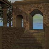 Templo de la fantasía en el amanecer Imagenes de archivo
