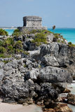 Templo de las Pinturas (Temple at Tulum). This building conserves most of the decorative elements of Tulum. It has two levels, of which the lower level is royalty free stock photo