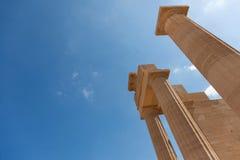 Templo de Lindian Athena Lindos Greece Imagenes de archivo