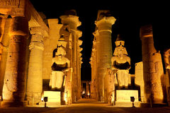 Templo de Luxor por noche Foto de archivo libre de regalías