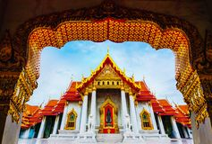 Templo de mármore de Banguecoque Wat Benchamabophit fotografia de stock
