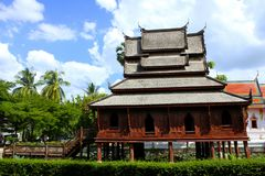 Templo de madeira antigo de Tailândia Imagem de Stock Royalty Free