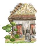 Templo de madera viejo de Tailandia Un edificio de madera tradicional en los argumentos de un templo budista ilustración del vector