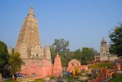 Templo de Mahabodhi, gaya do bodh, Índia O local onde Gautam Buddha Imagens de Stock