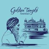 Templo de oro Amritsar Punjab la India adoración sikh del hombre del gurú del ejemplo feliz del purab libre illustration