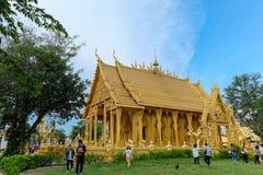 Templo de oro de la pintura, Wat Pak Nam Jolo, explosión Khla, Chachoengsao Tailandia Foto de archivo libre de regalías