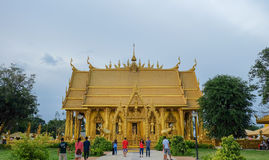 Templo de oro de la pintura, Wat Pak Nam Jolo, explosión Khla, Chachoengsao Tailandia Fotos de archivo libres de regalías