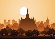 Templo de oro o Saket, señal famosa de la montaña de Tailandia, silh ilustración del vector