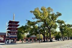 Templo de Osaka Shitennoji en un día soleado con los árboles verdes foto de archivo