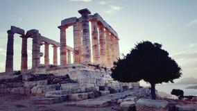 Templo de Poseidon en el cabo Sounion imagen de archivo libre de regalías