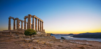 Templo de Poseidon no cabo Sounion, Grécia Fotos de Stock