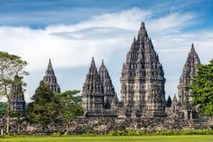 Templo de Prambanan perto de Yogyakarta em Java, Indonésia Fotografia de Stock